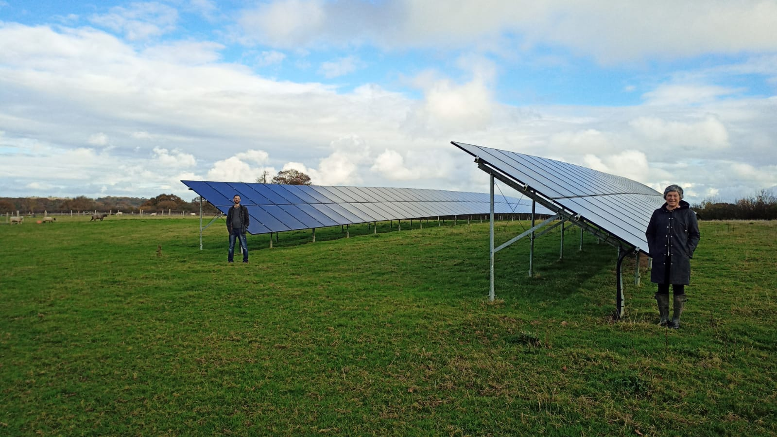 Nicki Myers and Mark Engineer from Ovesco at Sewells Farm solar scheme, in Barcombe